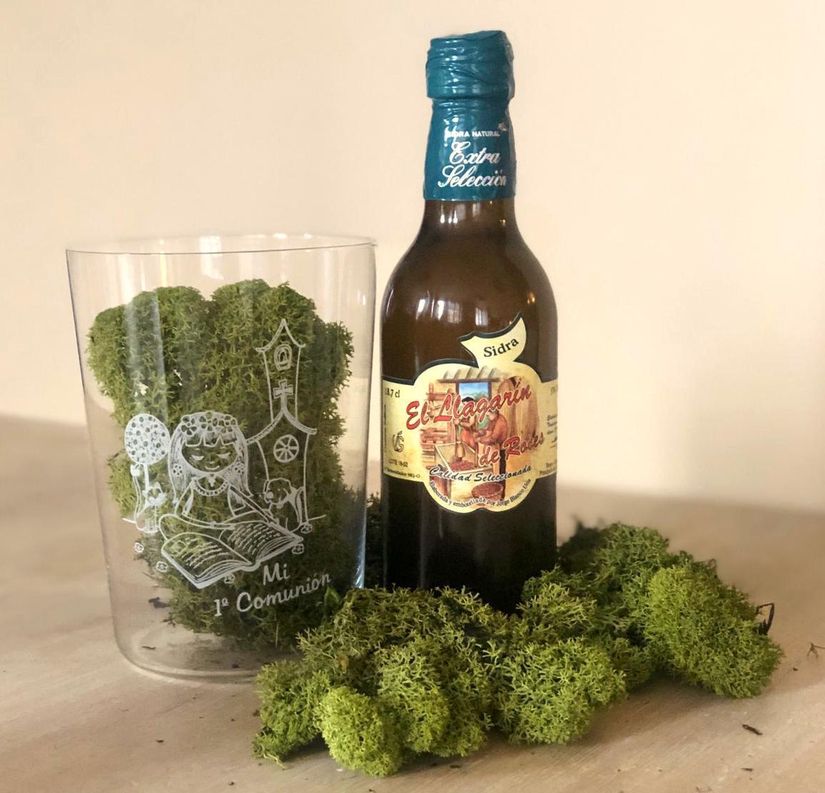 Vaso de Sidra Comunión Niña con Botella de Sidra Natural Llagarín