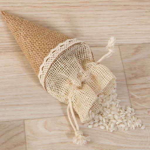 Cono para arroz de tela de saco