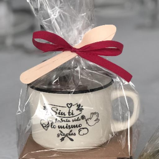 """Taza """"gracias por venir"""" con 6 Láminas de Chocolate Belga [1]"""
