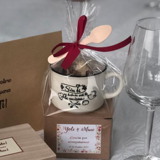 """Taza """"gracias por venir"""" con 6 Láminas de Chocolate Belga [3]"""