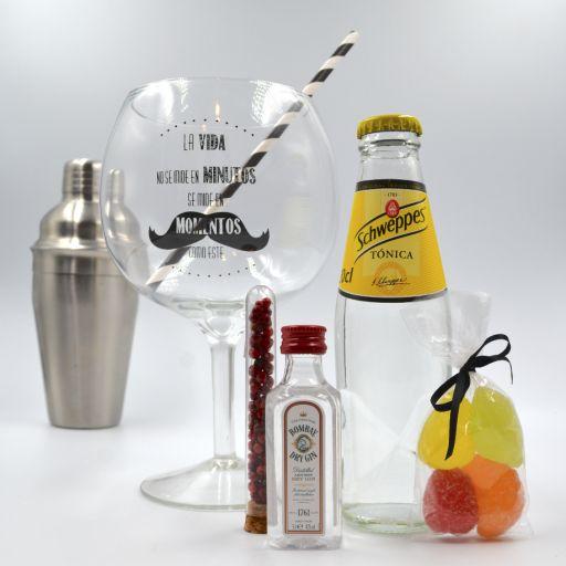 Kit Gin Tonic con Ginebra Bombay & Tónica Schweppes  con Copa Balón
