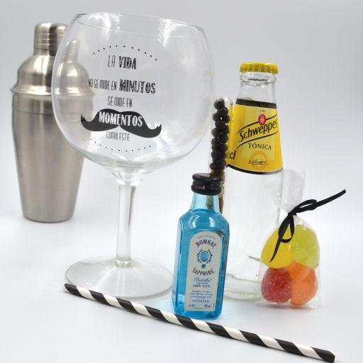 Kit Gin Tonic con Ginebra Bombay Saphire & Tónica Schweppes  con Copa Balón