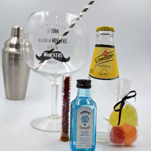 Kit Gin Tonic con Ginebra Bombay Saphire & Tónica Schweppes  con Copa Balón [1]