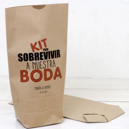 "Bolsa Kraft ""Kit para sobrevivir a nuestra Boda"""