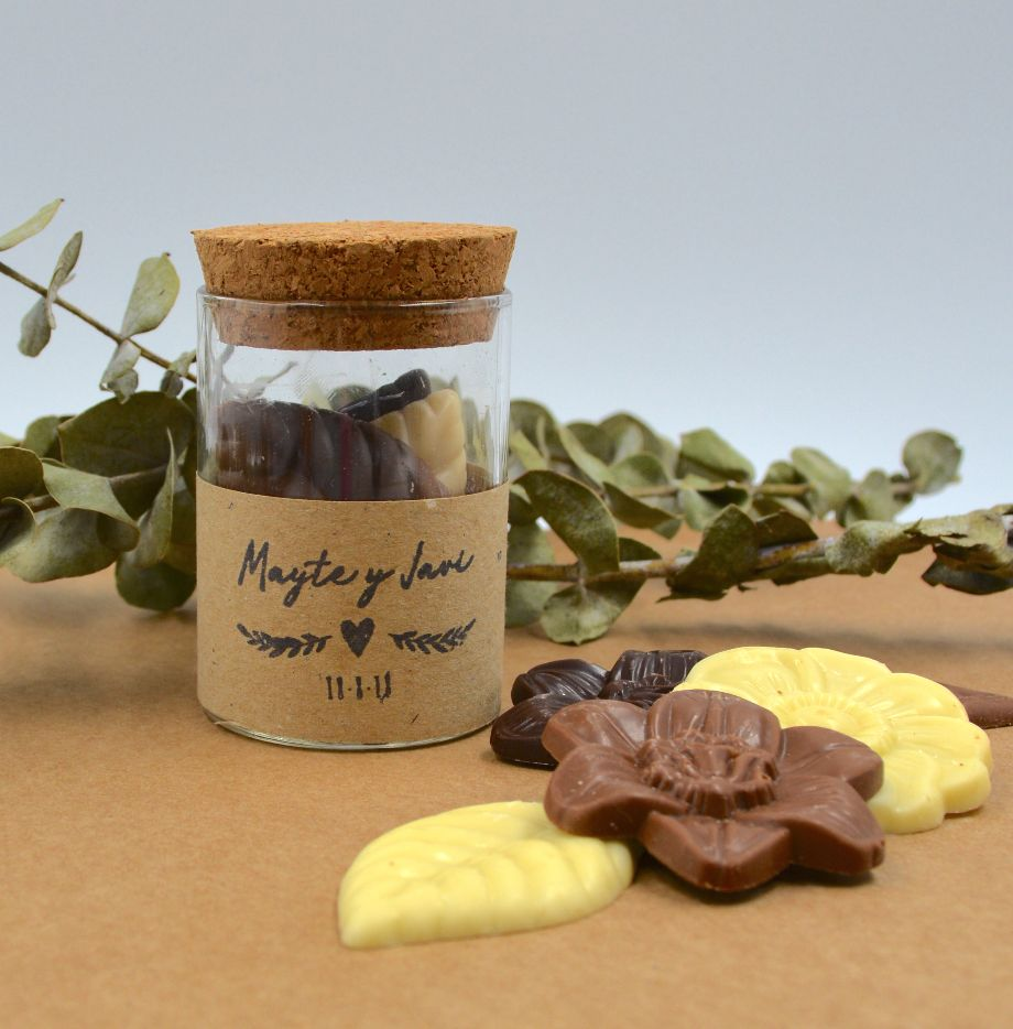 Mini Bote Cristal con  Chocolate Belga