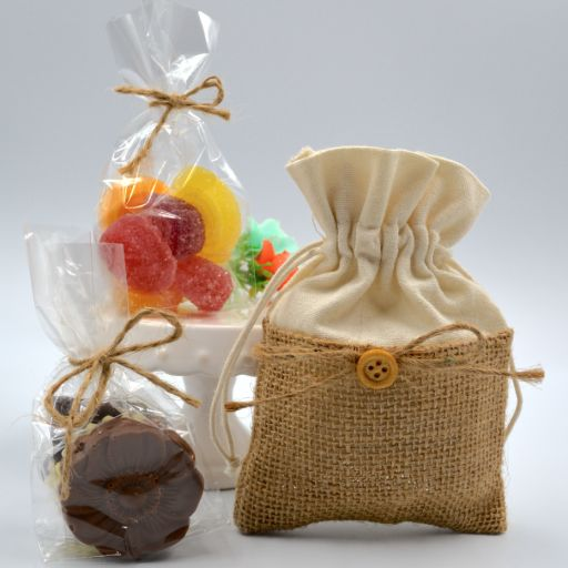 Bolsita tela de saco con  Chocolate Belga o Fruta Italiana