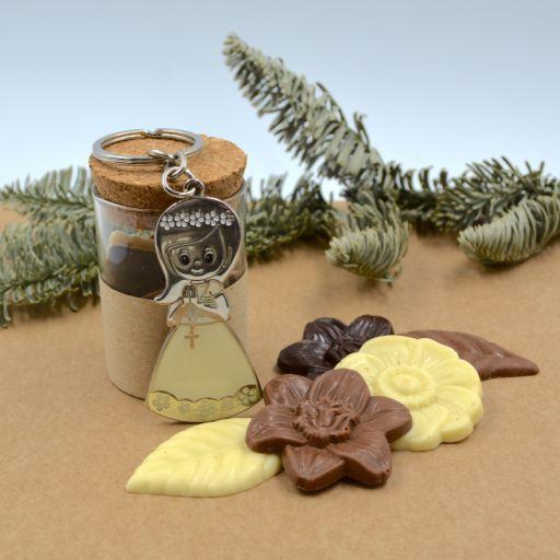 Mini Bote Cristal con Llavero Niña  Grabado y Chocolate Belga