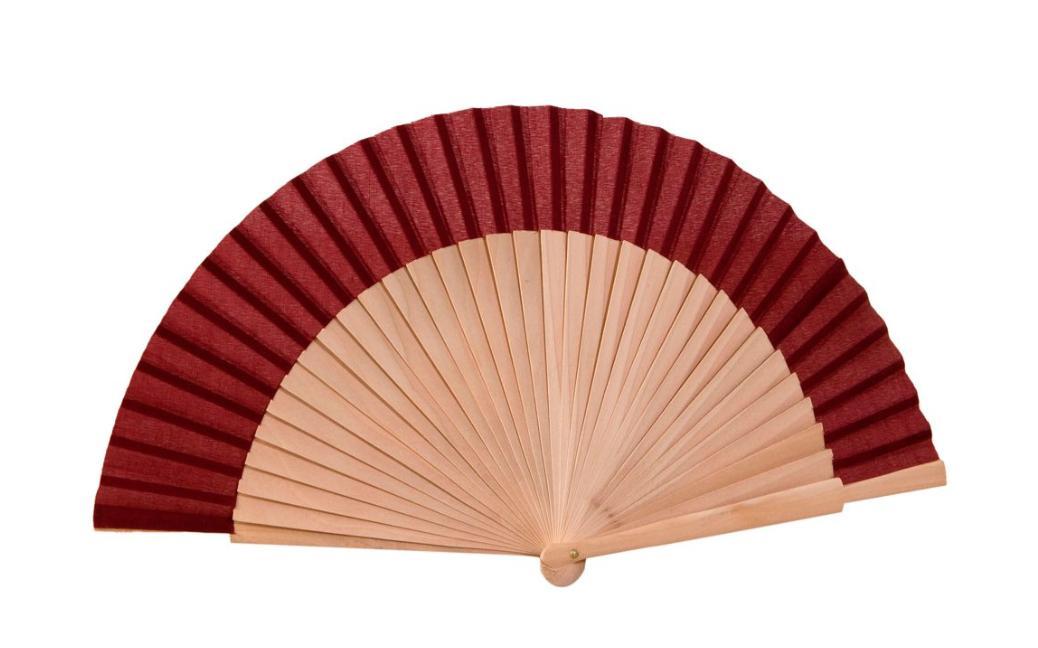 Abanico madera natural y tela en color granate