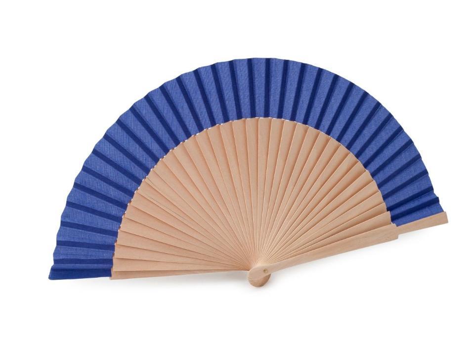 Abanico madera natural y tela en azul