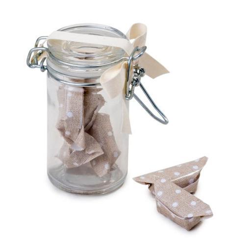 Mini Bote Cristal con  Bonbones chocolate con leche