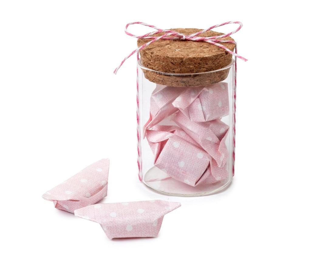 Tarro cristal y 5 caramelos rosas afrutados