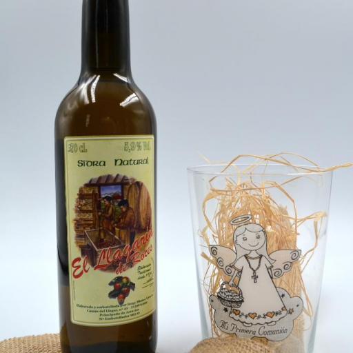 Vaso de Sidra Comunión con Botella de Sidra Natural Llagarín [1]