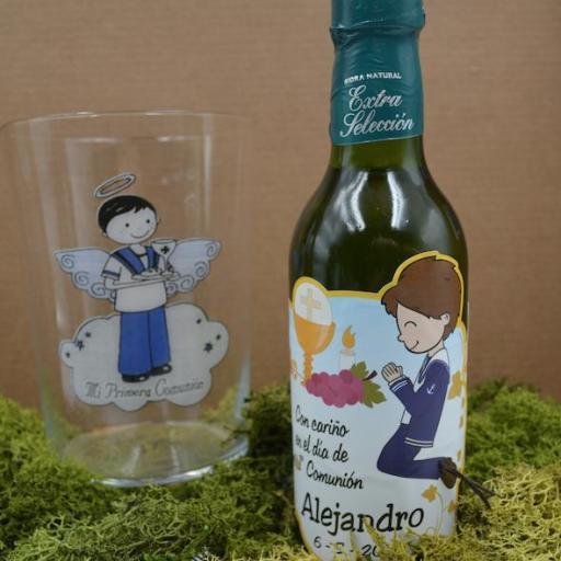 Vaso de Sidra Comunión con Botella de Sidra Natural Llagarín [3]