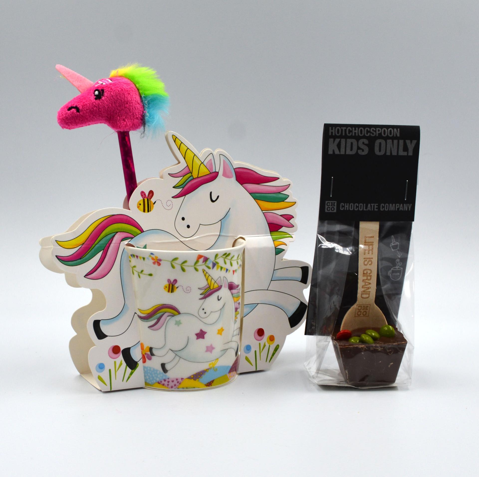 Taza Unicornio con cuchara de Chocolate y lápiz Unicornio