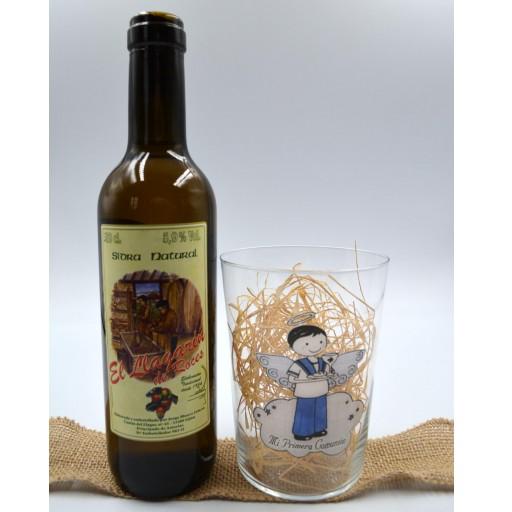 Vaso de Sidra Comunión con Botella de Sidra Natural Llagarín [2]