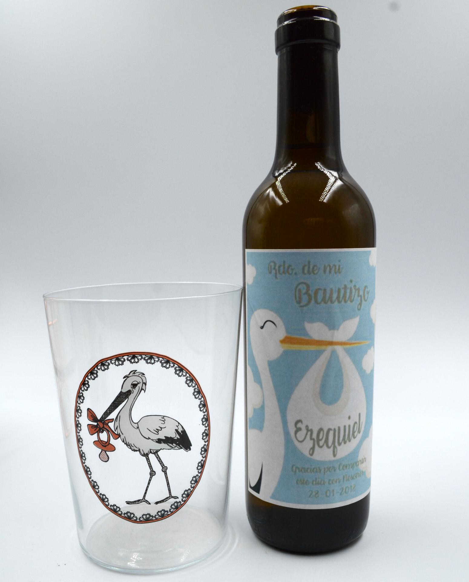 Vaso de Sidra Bautizo con Botella de Sidra Natural Llagarín Personalizada