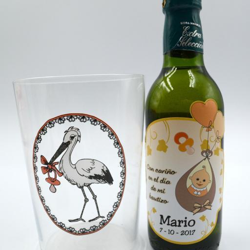 Vaso de Sidra Bautizo con Botella de Sidra Natural Llagarín Personalizada [1]
