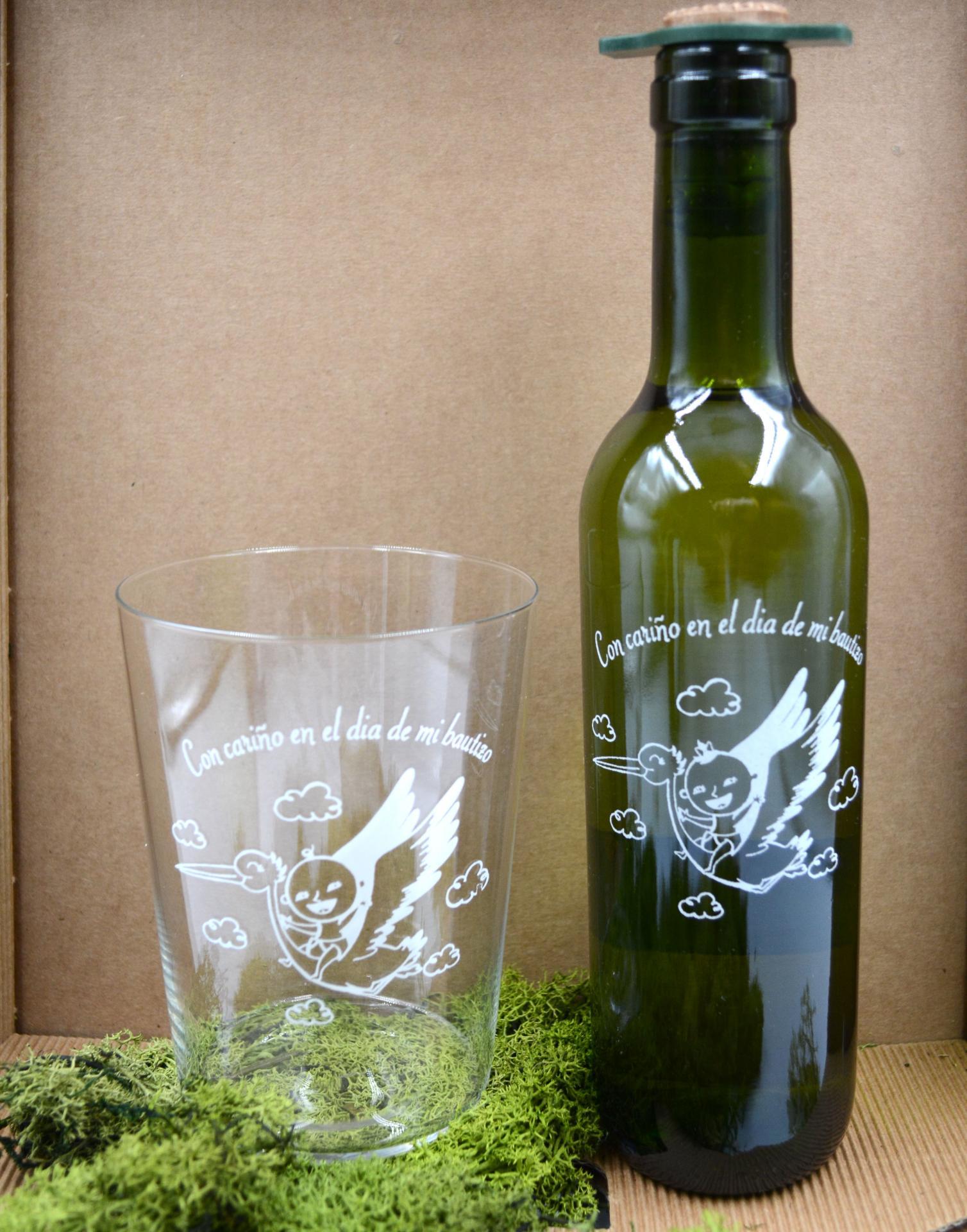 Vaso de Sidra Bautizo con Botella de Sidra Natural Llagarín