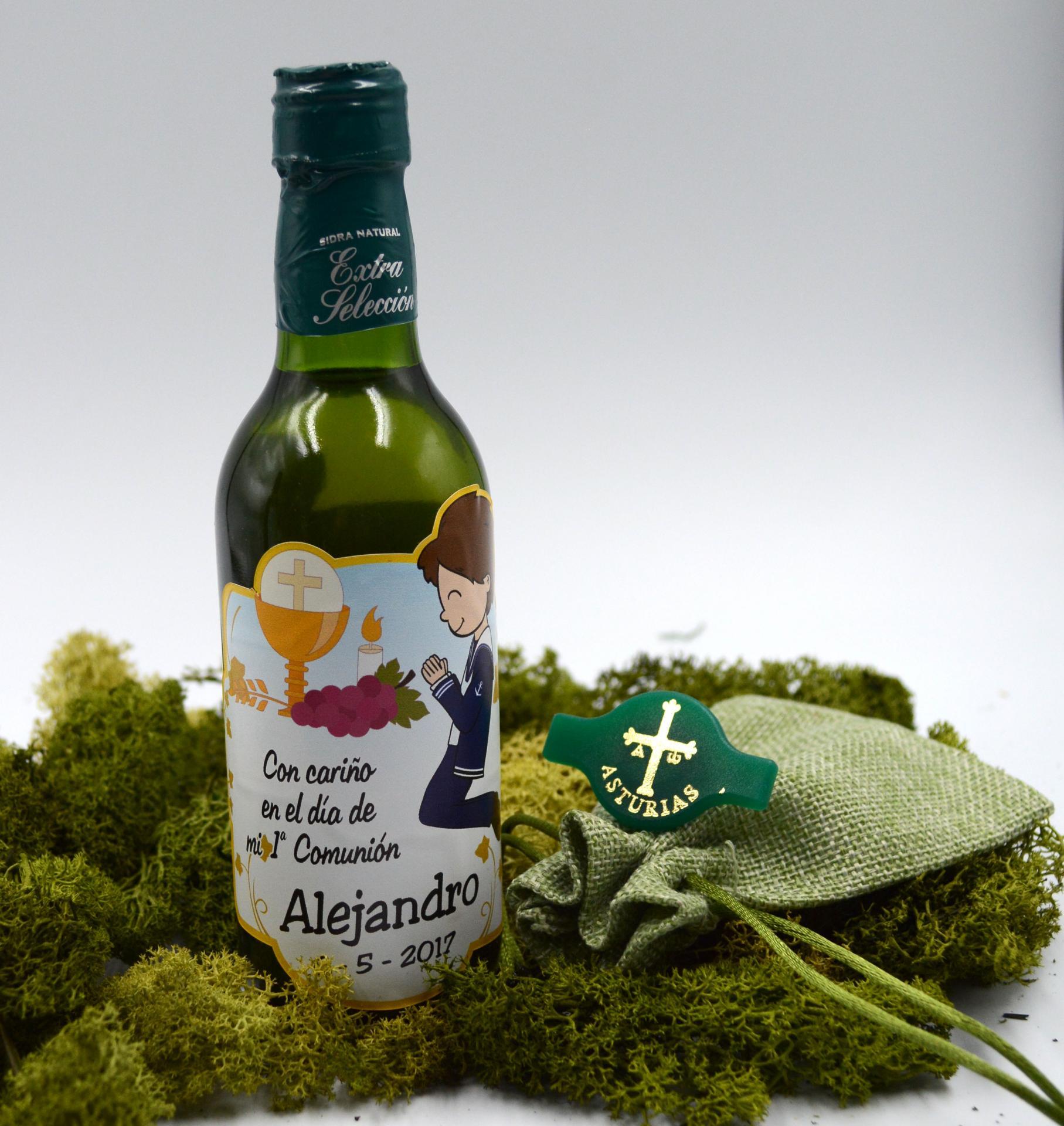 Botella de Sidra Natural Llagarín  personalizada con bolsita y Escanciador