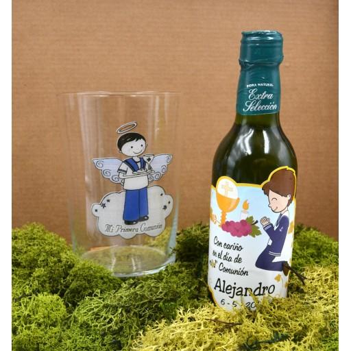 Vaso de Sidra Comunión con Botella de Sidra Natural Llagarín