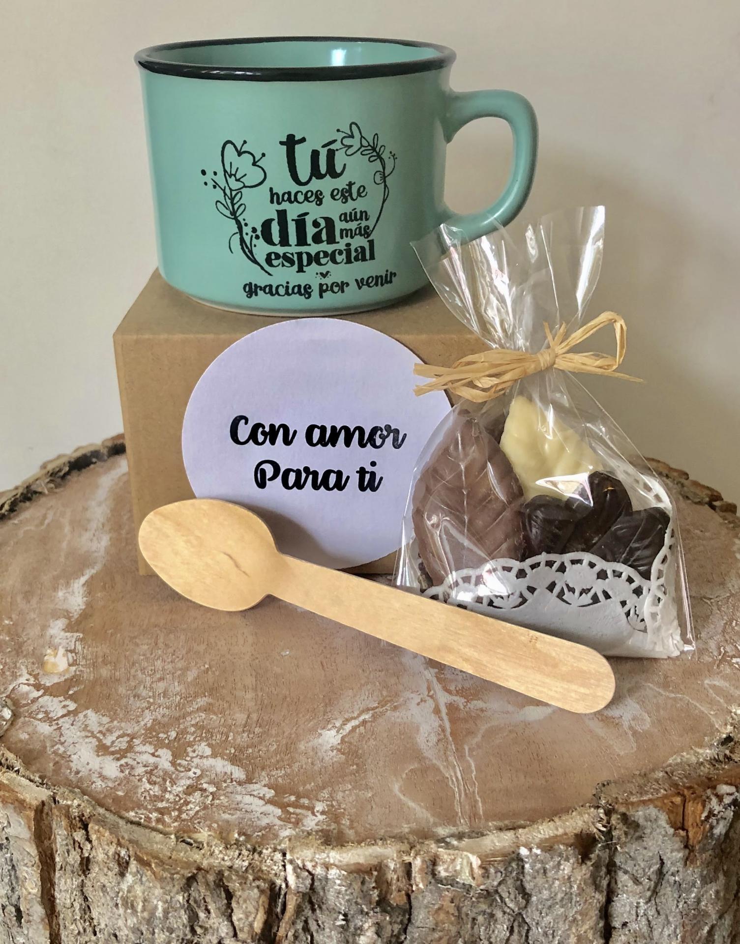 """Taza """"gracias por venir"""" con 6 Láminas de Chocolate Belga"""