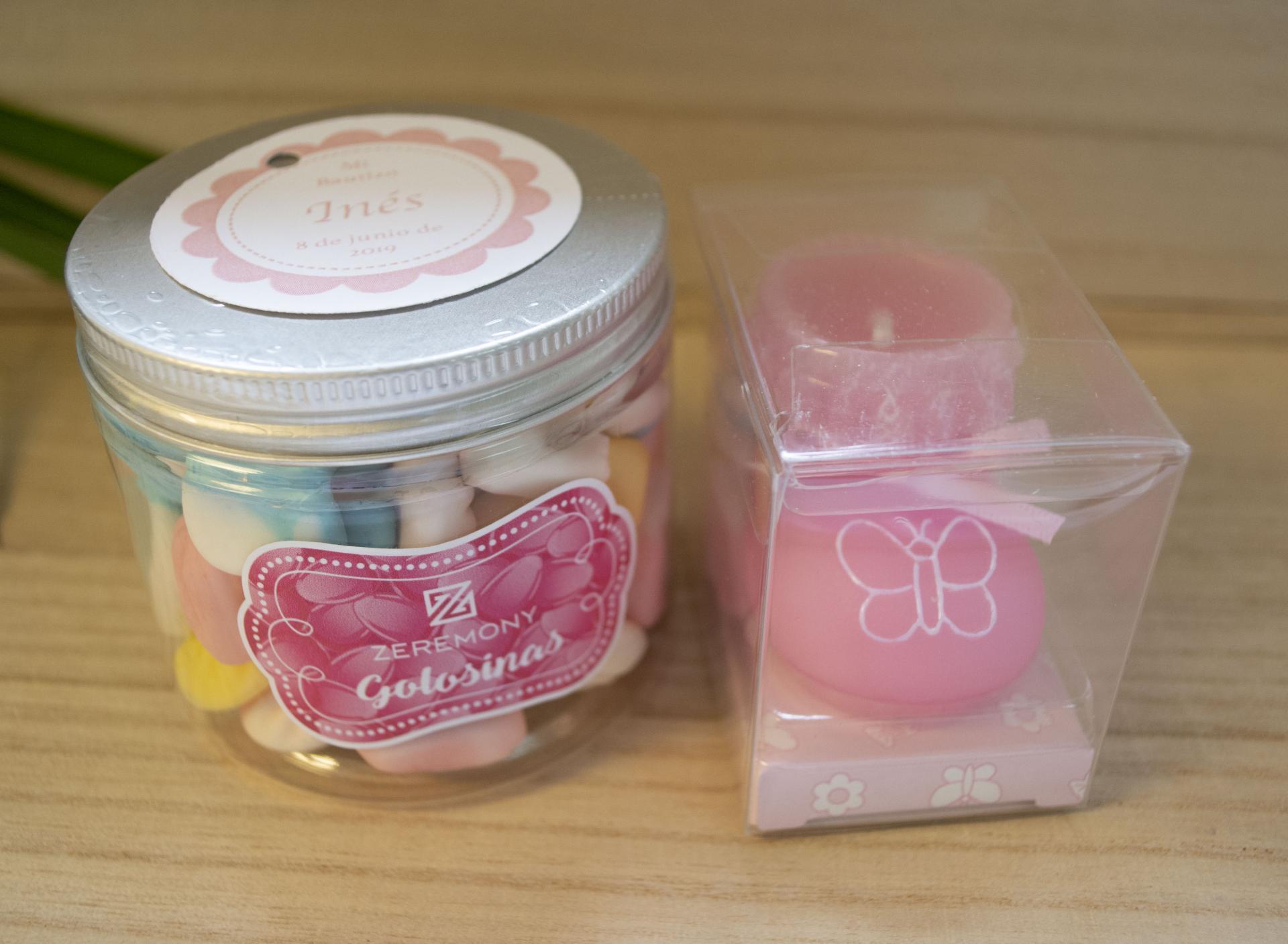 Vela Patuco Rosa Perfumado con Bote gominolas rosa/azul