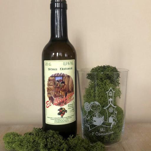 Vaso de Sidra Comunión Niño con Botella de Sidra Natural Llagarín