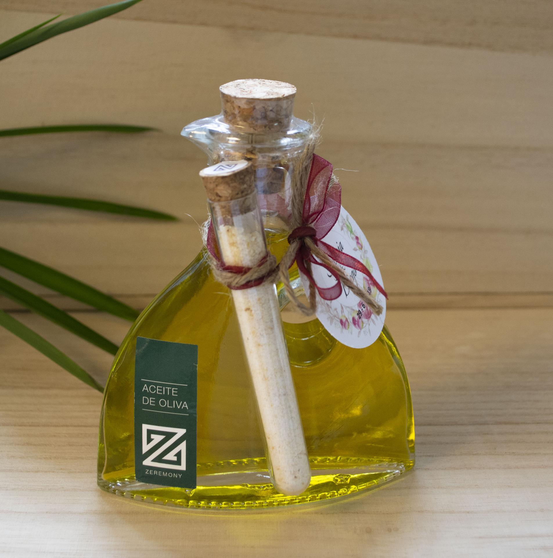Botella de Aceite de Oliva 100 ml con sal de ajo