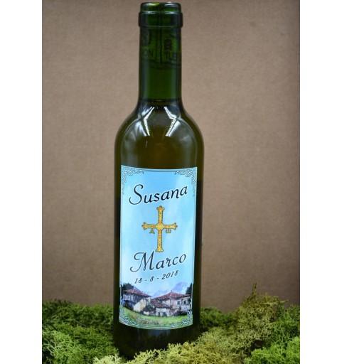 Botella de Sidra  Personalizada con  vaso en Bandeja Rústica [2]