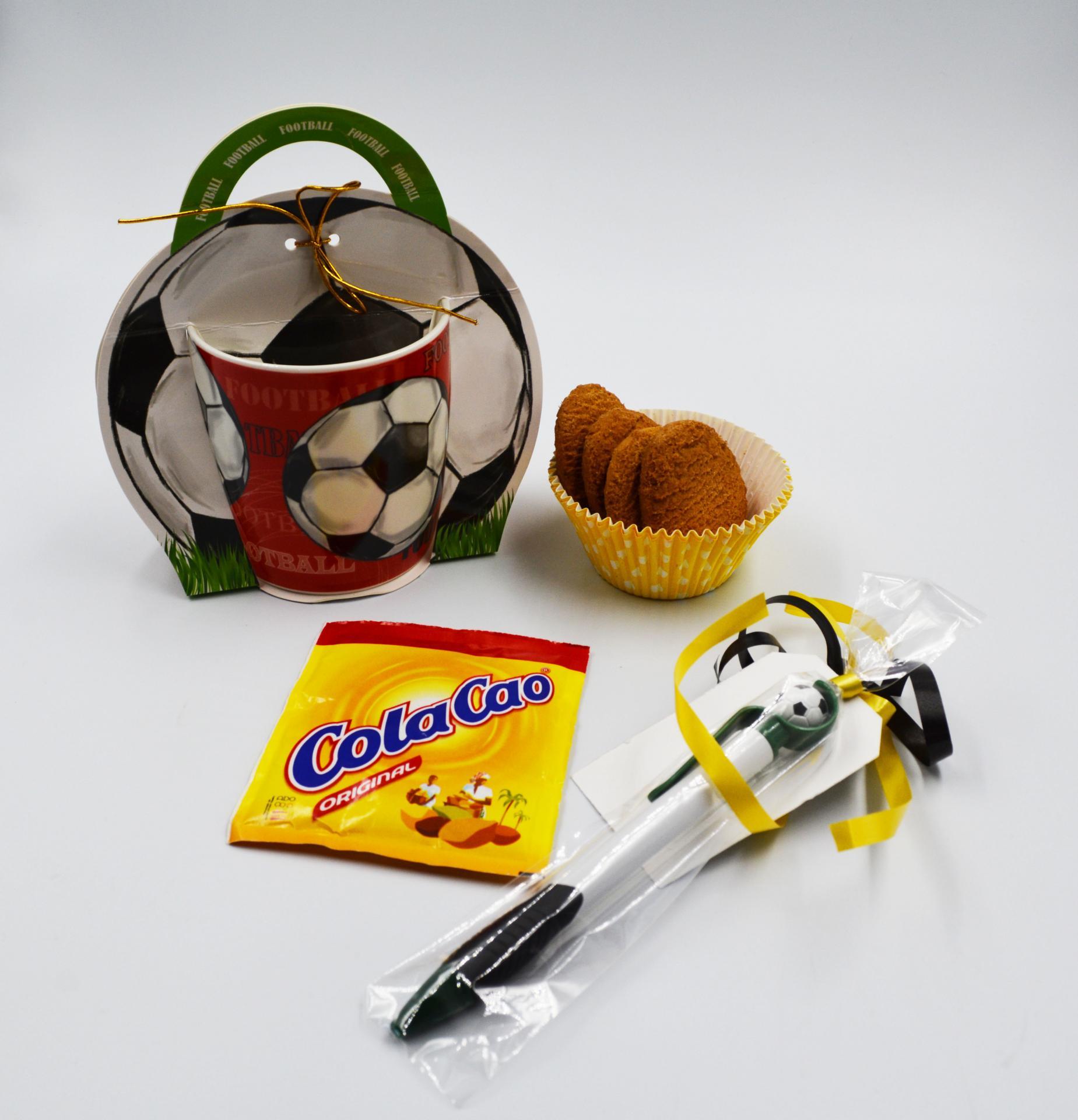 Taza Balón de Futbol con boligrafo y kit Merienda