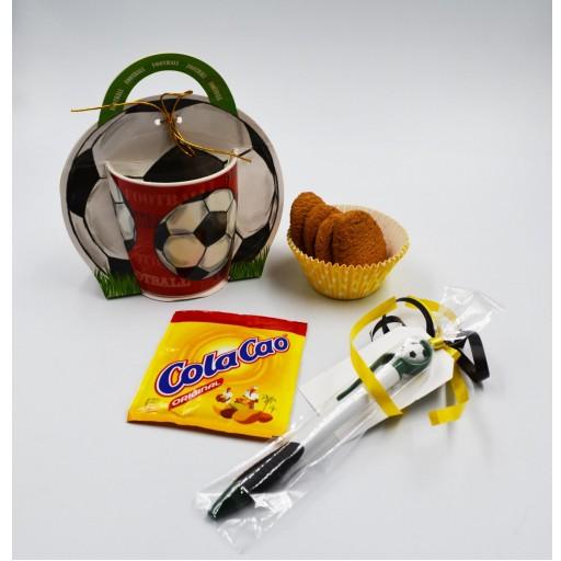Taza Balón de Futbol con boligrafo y kit Merienda [0]