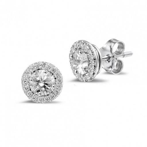 Pendientes Oro Blanco Diamantes Ref. OB0D01