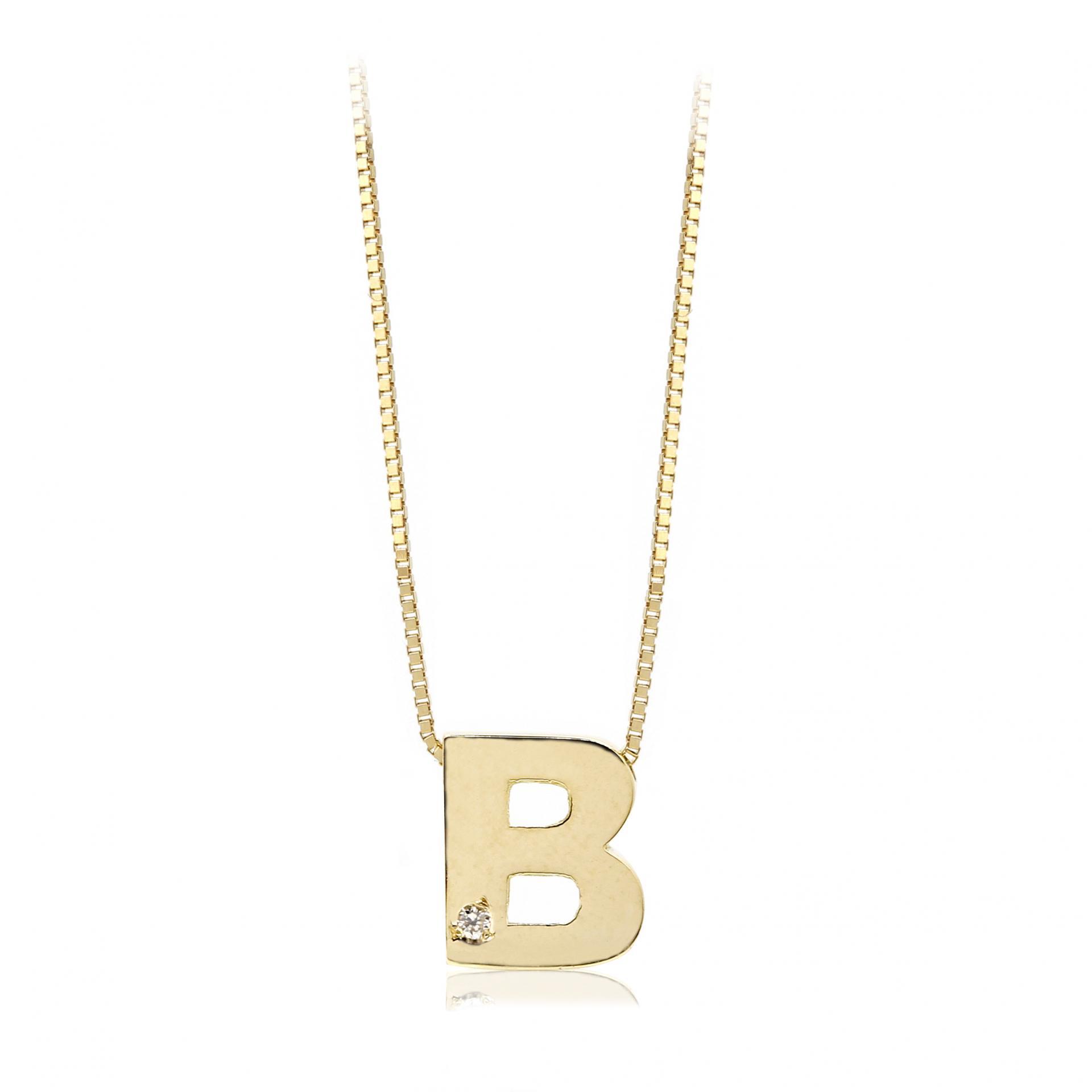 Gargantilla inicial de oro B con brillante Ref. FOD709B