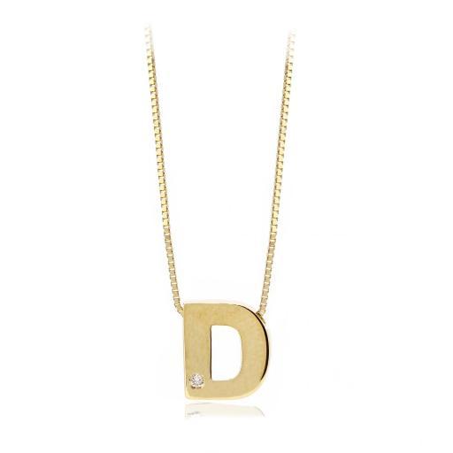 Gargantilla inicial de oro D con brillante Ref. FOD709D