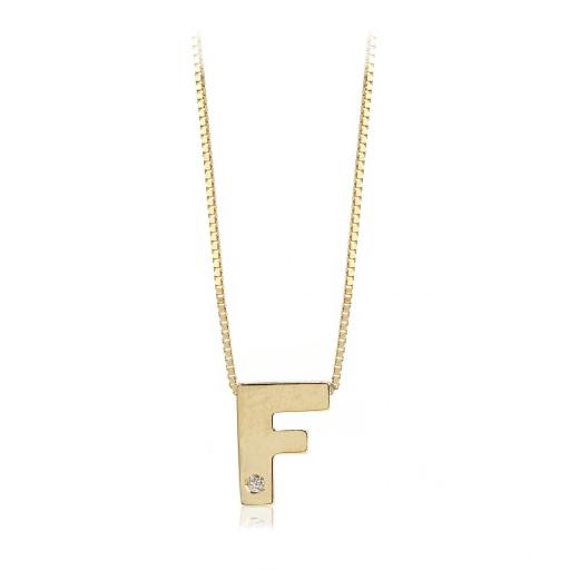 Gargantilla inicial de oro F con brillante Ref. FOD709F