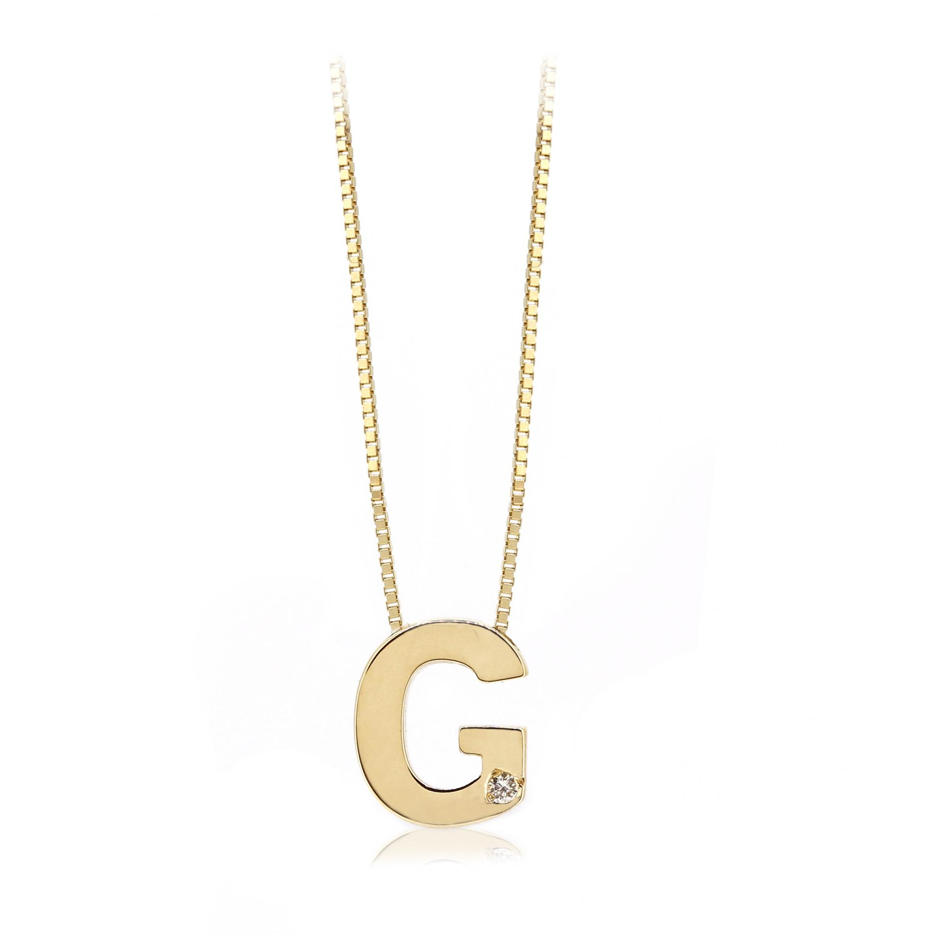 Gargantilla inicial de oro G con brillante Ref. FOD709G
