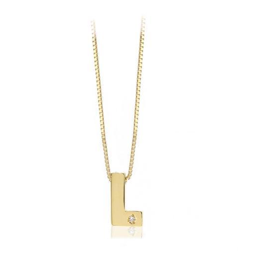 Gargantilla inicial de oro L con brillante Ref. FOD709L