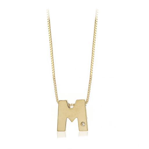 Gargantilla inicial de oro M con brillante Ref. FOD709M