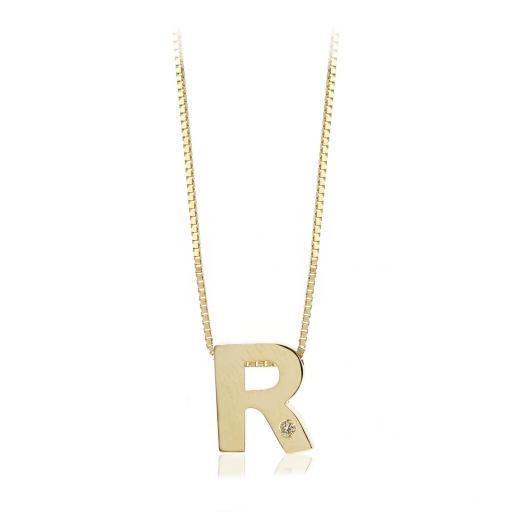 Gargantilla inicial de oro R con brillante Ref. FOD709R