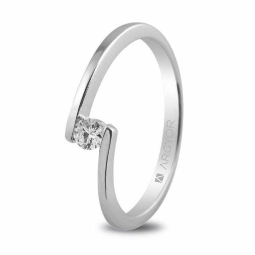 Anillo de Compromiso con 1 Diamante 0.10ct. Ref. BO13