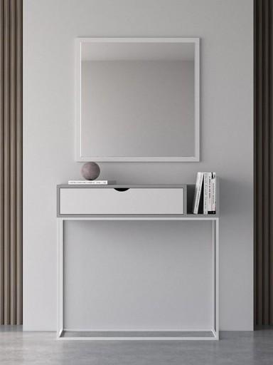 Consola recibidor Malmo gris-blanco con base tubo blanca