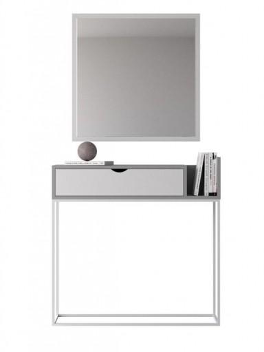 Consola recibidor Malmo gris-blanco con base tubo blanca [1]