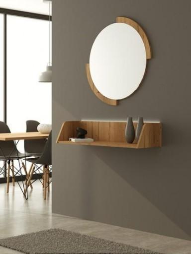 Espejo de pared redondo Clock Roble 1 [1]