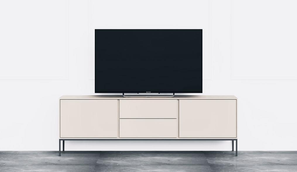 MUEBLE TV AROA BLANCA CON PATAS DE TUBO NEGRO