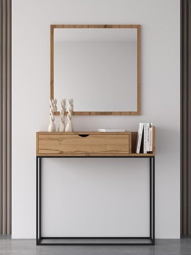 Espejo de pared cuadrado roble 1 [1]