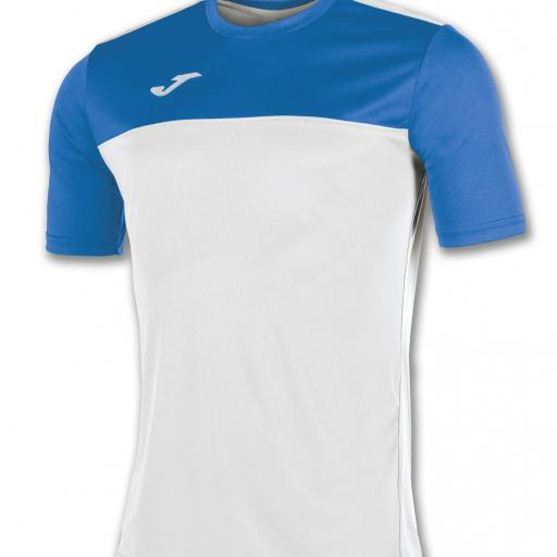 CAMISETA JOMA WINNER BLANCO AZUL ROYAL 100946.207