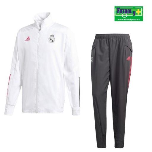 Chandal de PrePartido Real Madrid 2020/21 Blanco Gris