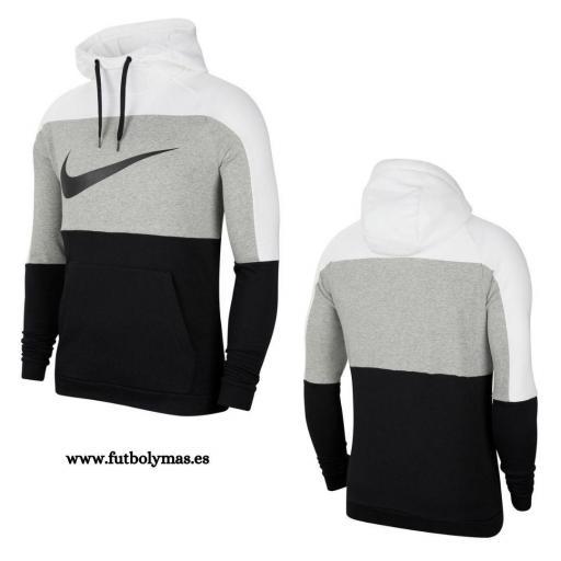 Sudadera Nike Dri-Fit Pullover Training - Blanco / Gris oscuro jaspeado / Negro CU6024-100 [3]