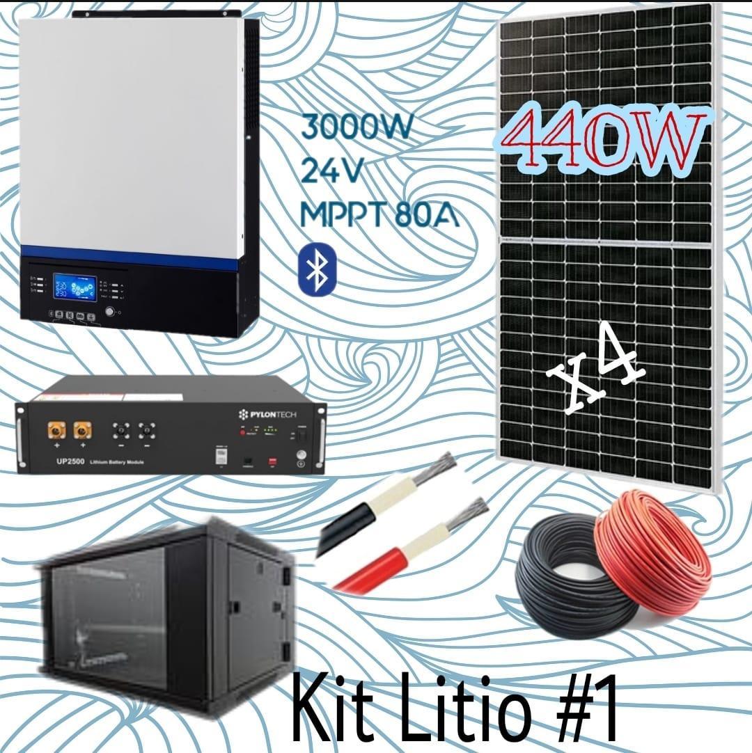 Kit solar 24v  de litio con 4 paneles solares de 440w monocristalinos