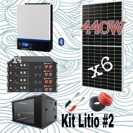 KIT SOLAR Nº14 48V  CON 4 BATERIAS DE LITIO E INSTALACION INCLUIDA